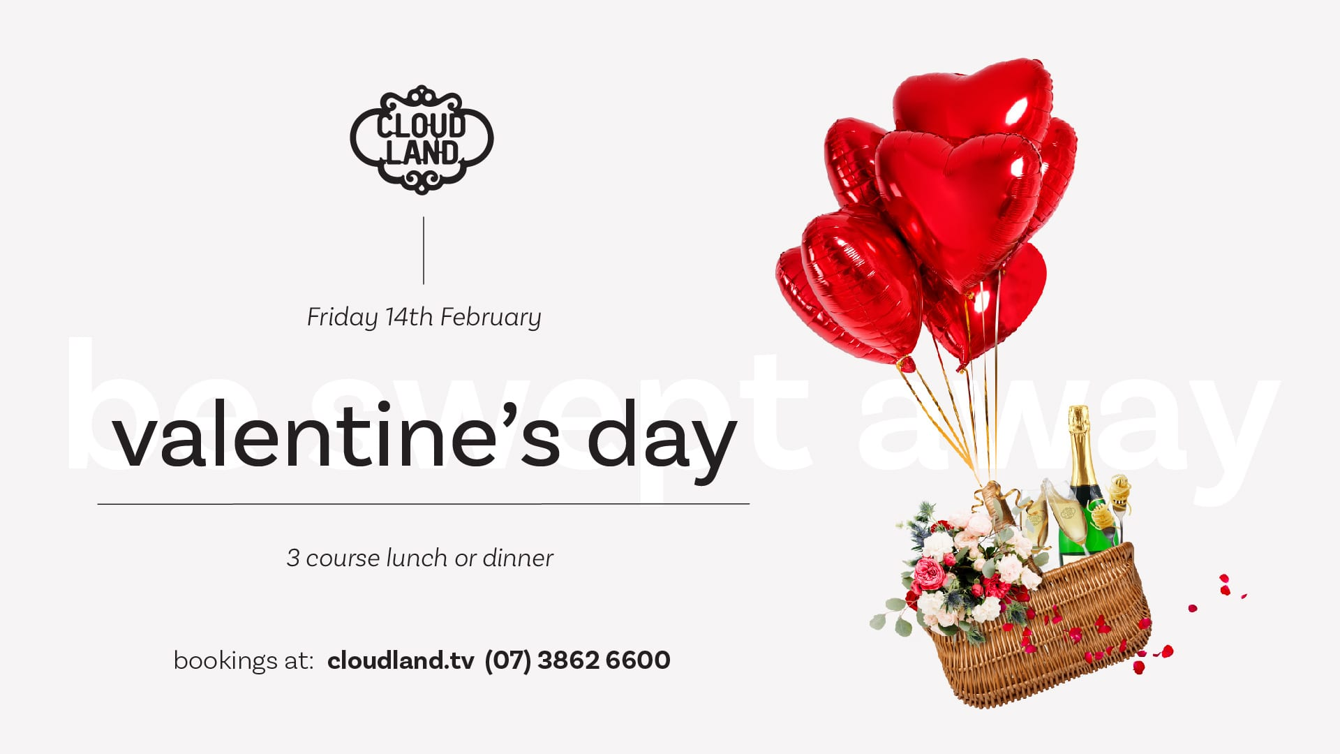 Cloudland Valentine's Day 3 Course Menu